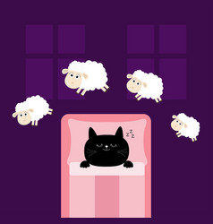Cute sleeping cat kitten jumping sheeps cant vector