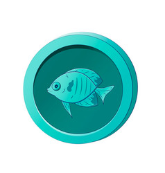 Cyan coin with image a fish vector