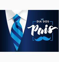 Dia dos pais mens suit and blue tie vector