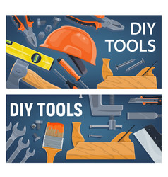 diy construction tools and equipment vector image