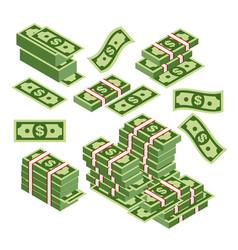 dollars bundles scattered vector image