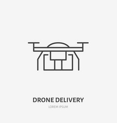 drone flat line icon air package delivery sign vector image