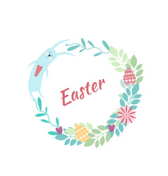 Easter round frame rabbit flowers plants eggs vector