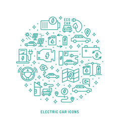 Electric car outline icons set vector