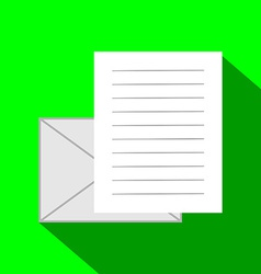 Email Icon Envelope and Paper Sheet with Text in vector image