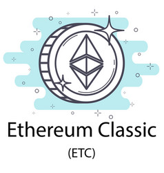 Ethereum classic outline coin vector