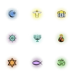 Faith icons set pop-art style vector