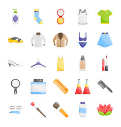 Fashion accessories flat icons pack vector
