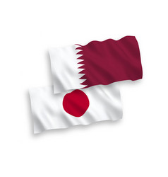 Flags japan and qatar on a white background vector