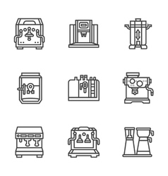 Flat black line coffee machines icons vector image