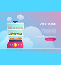 Food steamer landing page template vector