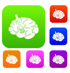 fork is inserted into the brain set color vector image