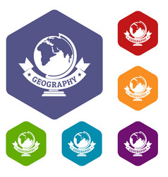 geography icons hexahedron vector image