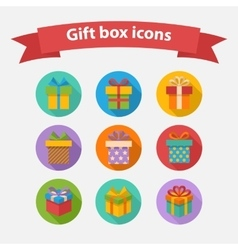 Gift box colorful icons set vector image