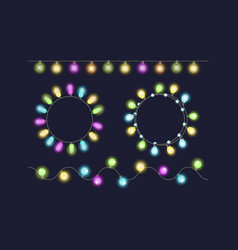 Glowing christmas garland light bulbs for xmas vector