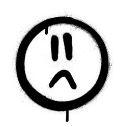 graffiti sprayed sad face icon in black over white vector image