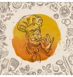 Hand-drawn sketch of a happy chef and the food vector