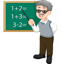 Handsome teacher cartoon teaching mathematics vector
