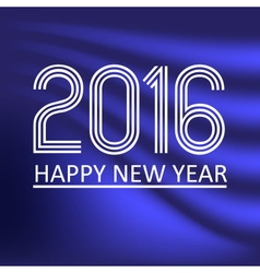 happy new year 2016 on blue wave color background vector image