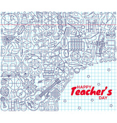 Happy teachers day background greeting card vector