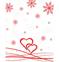 Hearts pattern with snowflakes vector image