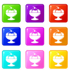 ice cream icons set 9 color collection vector image