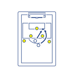 Icon of football coach tablet with game plan vector