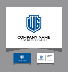 Initials wg shield logo with a business card vector
