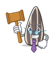 Judge sunflower seed mascot cartoon vector