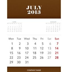 July 2013 calendar design vector