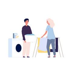laundry time couple make washing clothing happy vector image