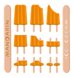 Logo for natural mandarin ice cream vector