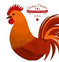 Merry Christmas e-card with rooster and designed vector image