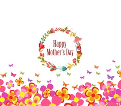 mothers day with flower and butterflies colorful vector image