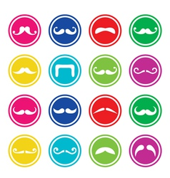 Moustache or mustache round colorful icons vector