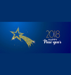 new year 2018 gold glitter holiday shooting star vector image