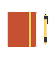 notebook and pen isolated on white background vector image