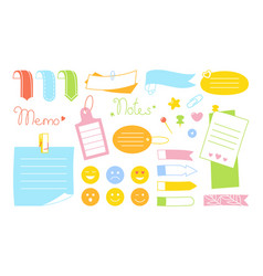 Notebook paper note kawaii set emoji sticker vector