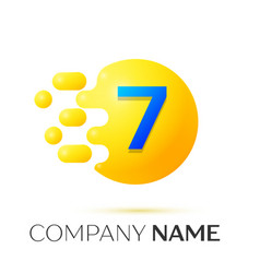 Number seven splash logo yellow dots and bubbles vector