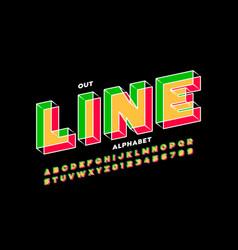 outline style 3d font design alphabet letters vector image