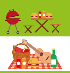 Picnic party scene icon vector