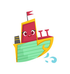 Pink green and yellow cute girly toy wooden ship vector