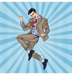 Pop Art Successful Businessman Jumping vector image