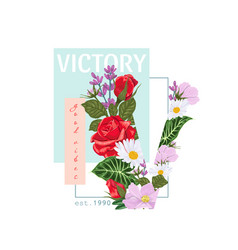 print on a t-shirt with word victory and the vector image