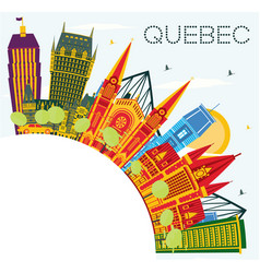Quebec canada city skyline with color buildings vector
