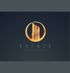 Real estate gold design vector