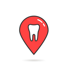 Red thin line icon of dental geolocation vector