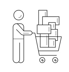 Retail shopping line icon vector