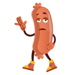 sad sausage on white background vector image