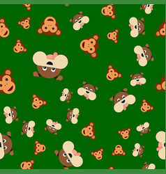 seamless pattern of dogs and monkeys head vector image